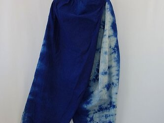 藍染絞りキュロットパンツの画像