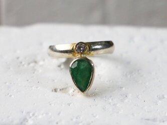 古代スタイル*エメラルド 指輪*9.5号の画像