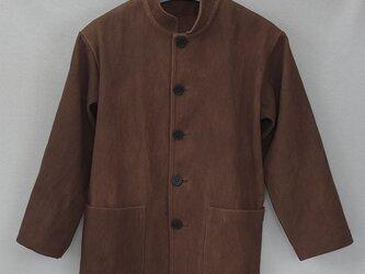 柿渋染め刺し子生地のメンズジャケット(オーダー可)の画像