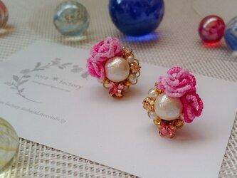【送料無料】flower&cotton pearlピアス/イヤリング#176の画像