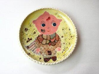 キューピーと猫の皿/ 陶器/ 陶芸家/可愛い子ども食器/キッズ食器/cute ceramicの画像