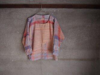 手織り/cotton sweater ▽珊瑚no umi (+orimi)の画像