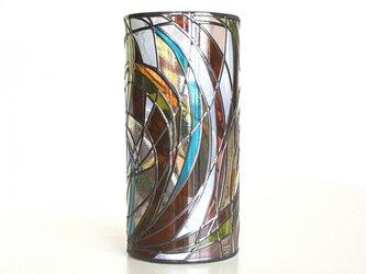 グラスアート花瓶大☆レトロ調フラワーベースの画像