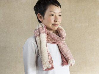 手織りオーガニックコットンストール(ホワイト)の画像