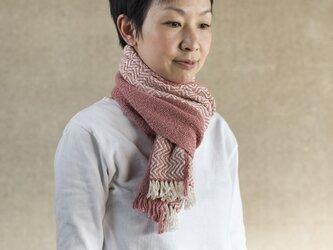 手織りオーガニックコットンストール(ピンク)の画像