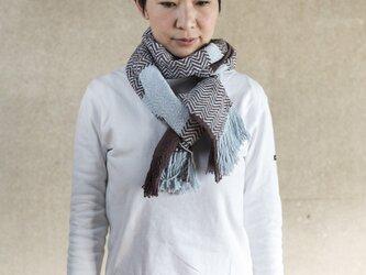 手織りオーガニックコットンストール(チョコミント)の画像