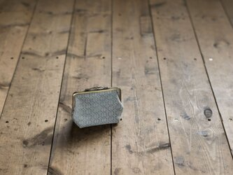 手織りオーバーショットのガマ口ポーチ(グリーン)の画像