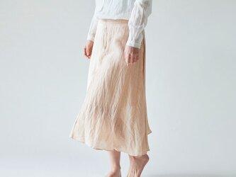 enrica linensilk skirt pinkbeige / natural dye / size38の画像