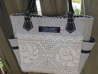 サイドポケットバッグS(ヘリンボーン織りリネン×ナチュラル綿レース)の画像