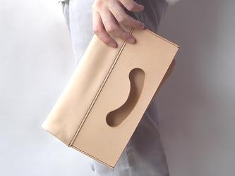 ヌメ革(生成り)のクラッチバッグ(小)【conicori/こにこり】 #機嫌をそこねる2way #手縫い #手もみ#送料無料の画像