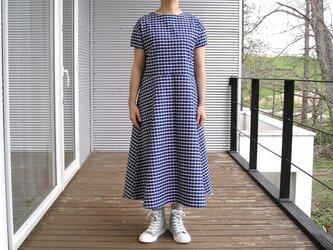播州織コットン*爽やかウィンドウペンチェックのフレアワンピース(青×白チェック)の画像