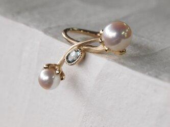 アコヤ本真珠/アクアマリン指輪の画像