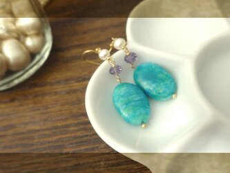 レモンジャスパー×アメシスト pierce・earringの画像