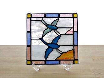 ステンドグラスパネル 鶴 Mサイズの画像