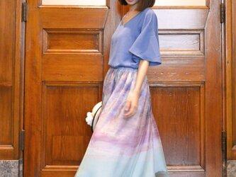 .:.*.:.デジタルプリントチュールスカート・ブルー×ラベンダー.:.*.:.の画像