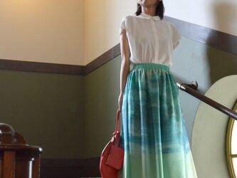 .:.*.:.デジタルプリントチュールスカート・ブルー×グリーン.:.*.:.の画像