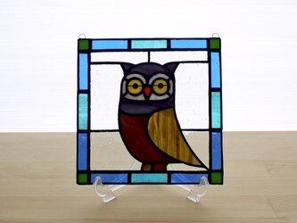 ステンドグラスパネル フクロウ Mサイズの画像