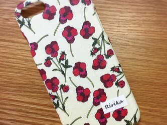 iPhone全機種/各種スマホ対応 名入れできます♡リバティ Ros/赤色 カバーの画像