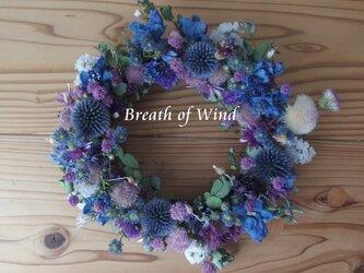 ブルーの花いっぱいリースの画像