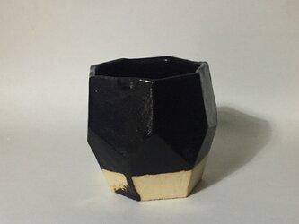 T036 黒釉面取酒杯の画像
