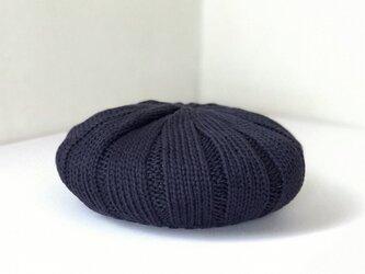 ジンバブエコットンのふんわりニットベレー帽 D/ネイビー杢の画像