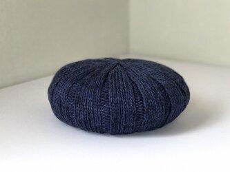 ジンバブエコットンのふんわりニットベレー帽 ブルー/ネイビーMixの画像