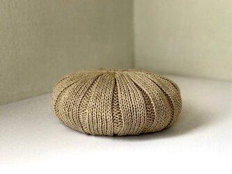 ジンバブエコットンのふんわりニットベレー帽 ベージュ杢の画像