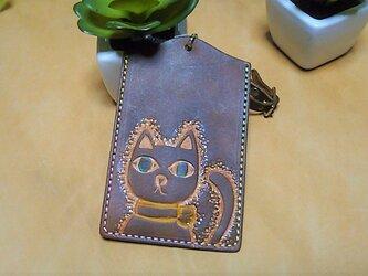 革のPASMOケース 猫ちゃん 茶色の画像