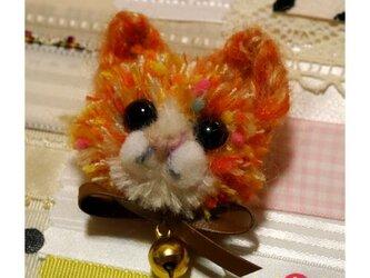 毛糸の子ネコブローチ(ミックスオレンジ)の画像