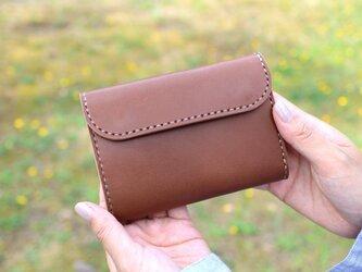 【受注生産品】三つ折り財布 ~栃木アニリン茶×栃木サドル~の画像