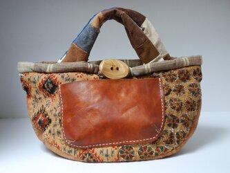 柿渋染め麻布とレザーのポケットのバッグの画像