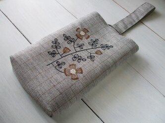 花刺繍の縦長ミニバッグ 毛芯 グレーストライプの画像