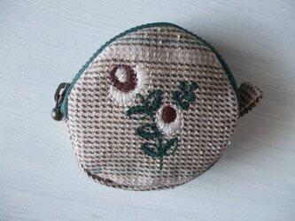 花刺繍のミニミニポーチ 綿ベージュチェックの画像