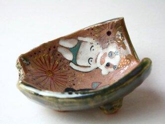 陶芸織部.Festival..お祭り織部のアニメ皿.cute ceramics.contemporaryの画像
