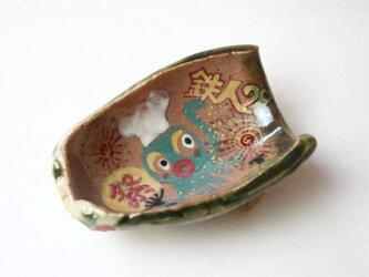 陶芸織部.Festival..お祭り織部のアニメ皿.cute ceramics.contemporary artの画像
