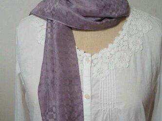 草木染め 格子柄シルクストール(藤紫)の画像