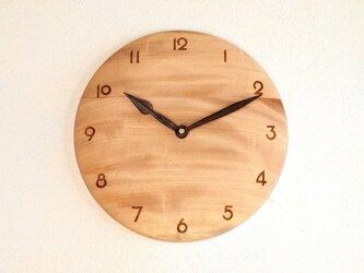 木製 掛け時計 丸 栃(トチ)材12の画像