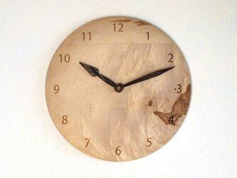 木製 掛け時計 丸 栃(トチ)材14の画像