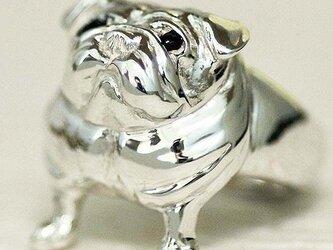 見上げるパグリング【送料無料】犬 わんこ シルバー 銀 ものいいたげ たぷたぷ の画像