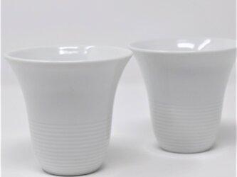 有田焼 窯元 博泉窯 白磁線文組フリーカップ 中村慎 作 陶芸家 手づくり シンプル きれいな白磁 ペア セット 贈り物 ギフトの画像