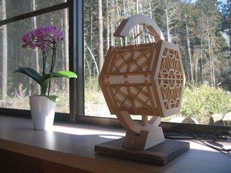 吊りランプ  組子細工  桜亀甲と和桝  の灯り   再販の画像