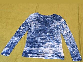 本藍染長袖Tシャツ(女性フリー)の画像