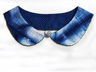 本藍染の付け襟/鳥の刺繍の画像