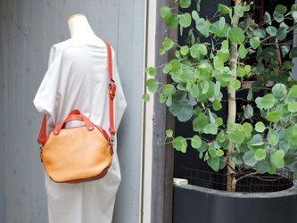 神戸ORZO 2wayミニボストンショルダーBAG ベージュ×レッドの画像