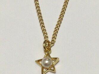 パールとお星様のプチネックレス(ゴールド)の画像
