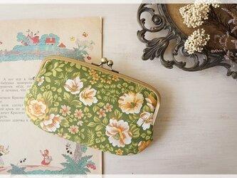 ☆ヴィンテージ生地の親子がま口長財布 / グリーンの花柄☆の画像