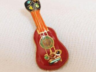 七宝焼ピンブローチ(ピンバッジ,ピンズ) ギター(赤)の画像