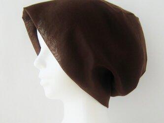 夏に涼しく下地にもなる ゆったりガーゼ帽子 茶  (CGR-009-C)の画像