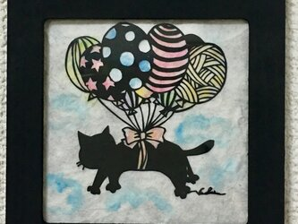 切り絵 風船猫ちゃんの画像
