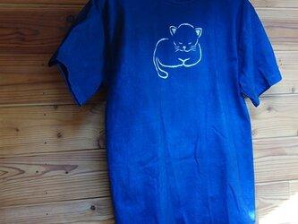 青い眠り猫の藍染Tシャツの画像